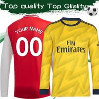 uniformes futebol venda por atacado-Manga longa ARS Casa Camisa de Futebol Vermelha 2019/20 Gunners Away Amarelo Completo Camisa de Futebol de Manga 2019 Top Quality Uniformes de Futebol Highbury