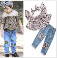 Wholesale kids sleeveless denim tops resale online - New summer baby girl clothing sets Leopard top Hole denim pants head band Suit Kids Sets baby clothes