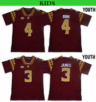 cozinheiro camisetas venda por atacado-2019 Seminoles do estado de Florida da juventude 3 Derwin James 4 Dalvin Cook caçoa camisas do Football da faculdade do FSU Derwin James Dalvin Cozinhe camisas costuradas