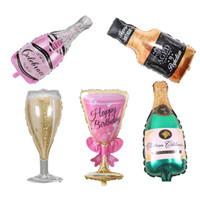 balon düğün dekorasyonu toptan satış-Şampanya Bardağı Bira Şişesi Balonlar Alüminyum Folyo Balon Helyum Balonlar Doğum Günü Düğün Bebek Duş Parti Dekor Malzemeleri