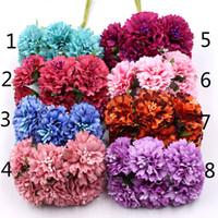 marguerites artisanat achat en gros de-Marigold 6pcs / bouquet 3.5cm mini marguerite bouquet de fleurs artificielles décoration de mariage bricolage artisanat décoration de la maison accessoires