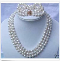 ingrosso braccialetto a tre strati-HOT triple fili AAA7-8mm South Pearl White Pearl Necklace 18