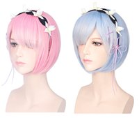 Wholesale sexy japanese women cosplay for sale - ostumes Accessories Cosplay Costumes CM Ram Rem Cosplay Wigs Short Heat Resistant Bob Hair Re Zero Kara Hajimeru Isekai Seikatsu with A