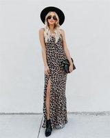 vestido sexy banquete al por mayor-2019 Banquet Sling Estampado leopardo falda larga Vestido de mujer sexy dividida Longuette 8325 S-XL de guangzhou18