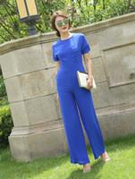 monos de gasa azul al por mayor-Mono para mujer 2019 Summer Party Rompers Chiffon Elegant Blue Full Length Jumpsuits for Lady Plus Tamaño 3XL 4XL
