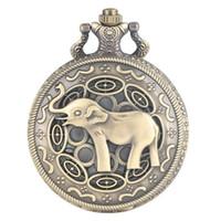 ingrosso regali unici di elefanti-Orologio da tasca al quarzo vintage retrò per gli uomini grandi quadrante bianco da taschino con orologio da polso in oro
