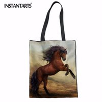 Wholesale horse canvas prints for sale - Group buy INSTANTARTS Personalized Carzy Horse Print Linen Shopping Bag Eco friendly Supermarket Bags Large Canvas Tote Bag Shoulder Bags