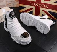 botas altas de vestir para hombre al por mayor-hombre zapatos de vestir diseñador Martin botas altas botas de nieve de algodón botas de los hombres jóvenes cargador ocasional del tobillo de cuero caliente bootiesV45