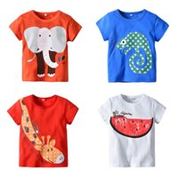 Wholesale child crocodile resale online - Kids Girls T shirt Animal Elephant Giraffe Crocodile Watermelon Printed Solid Summer Clothing Cotton Children Designer Clothes T