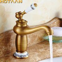 ingrosso rubinetti a mano singola in bronzo-Spedizione gratuita rubinetto del bagno bronzo antico finitura ottone bacino lavello rubinetto singolo manico miscelatore rubinetti dell'acqua calda e fredda lavabo