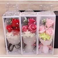 Wholesale flower soap gift sets for sale - Group buy 3Pcs set Rose Scented Bath Body Petal Rose Flower Soap Gift Valentine s Day Gifts Artificial Flowers Wedding Decoration