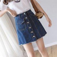 pantalones por encima de la cintura al por mayor-Moda de verano de las mujeres faldas de mezclilla azul solo botón Jeans mujer falda coreana por encima de la rodilla mini falda de cintura alta damas