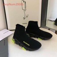 botas brillantes al por mayor-zapatos de lujo del estiramiento transpirable calcetines zapatos de los hombres de las mujeres zapatillas de deporte casuales deportivas planas calcetín botas de suela de color negro con verde brillante