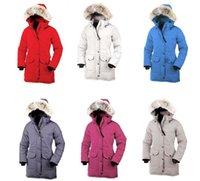 chaqueta de piel de lujo abajo de las mujeres al por mayor-Chaqueta de plumón de invierno de alta calidad piel de lobo real CG Montbello para mujer Chaqueta de plumón roja MUJERES de lujo Versión Fusion Shelburne Parker