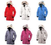 ingrosso inverno rosso ricco di cappotto-Piumino invernale di alta qualità vera pelliccia di lupo CG femminile Montbello Coat Piumino rosso Lusso DONNA Versione Fusion Shelburne Parker