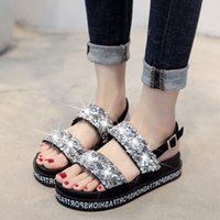 Wholesale beauty heels shoes for sale - Group buy 1Nice Tops Summer Pop Dress Beauty WoMen Sequins Roman Sports Open Toe Platform Shoes Non slip Flat Sandals