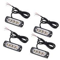 luces estroboscópicas parrilla ámbar al por mayor-4pcs 4 LED ámbar Desglose de recuperación luces estroboscópicas 12V 24V naranja parpadeante Grill