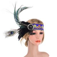 индийский головной убор оголовье оптовых-Индийская повязка на голову из павлиньих перьев с кисточкой из бисера в стиле хэллоуин