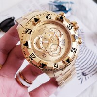 Wholesale large calendar resale online - 2019 High Quality Swiss INVICTA Very large Rotating Dial Super Quality Men s Watch Tungsten Steel Multifunction Gold Quartz Watch