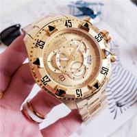 смотреть мужчин оптовых-2019 Высокое качество швейцарских INVICTA Очень большой вращающийся циферблат Супер качества мужские часы из вольфрамовой стали Многофункциональные золотые кварцевые часы