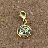 Wholesale diy jewelry for sale - 100pcs Tai Chi Bagua yin and yang five lines amulet Floating Lobster Clasps Charm Beads Antique gold Fit Charm Bracelet DIY Jewelry
