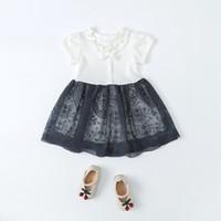 koreanisches europäisches kleid großhandel-Sommer Kinder tragen koreanische Version Kleid Prinzessin Rock europäischen und amerikanischen Kleid Mädchen 03 Jahre reiner Baumwolle ein Haarersatz