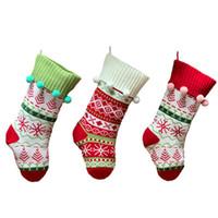 Wholesale knitted christmas stockings for sale - Group buy Christmas Decoration Stocking Knitted Jacquard Christmas Decoration Socks Acrylic Xmas Tree Home Santa Hanging Gift Socks IIA417