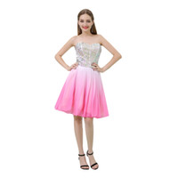Wholesale blush short strapless party dress for sale - Group buy MB032 Sparkly Strapless Blush Pink Prom Dresses Crystal Beading Short Prom Dresses Girl Party Wear Western Dress