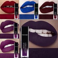 blue matte lipstick großhandel-24 Farbe Flüssige Lippenstifte Wasserdichte Make-up Langlebige Matte Lippenstift Rot Lila Blau Braun Nude Lipgloss Frauen Lippen Bilden
