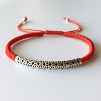 rote freundschaftsarmbänder silber großhandel-925 Sterling Thai Silber Lucky Red Rope Freundschaftsarmband Handmade Bangle Jewelry