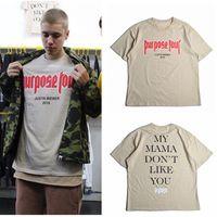 ingrosso justin bieber alto in alto-T-shirt moda Justin Bieber lettera stampata uomo High Street T-Shirt Hip Hop Tees Top Plus Size S-3XL