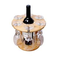 bambu kurutucu toptan satış-SıCAK-Şarap Cam Tutucu Bambu Masa Şarap Cam Kurutma Rafları 6 Cam ve 1 Şarap Şişesi için Kamp