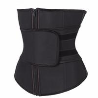 falda lolita marrón al por mayor-Más el tamaño abdominal Cinturón de alta compresión de la cremallera Látex Cinturilla corsé de Underbust Cuerpo Fajas sudor de la cintura Trainer