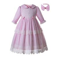 Preventa Nueva Primavera Pink Dot Girl Vestido De Flores De Encaje Comunión Vestido Largo Para El Banquete De Boda Traje De Niño B477 Vestido Debajo