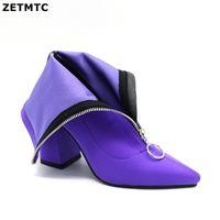 botas de tornozelo roxa mulheres venda por atacado-2019 Outono Nova Lycra Mulheres Botas Dedo Apontado Sapatos de Salto Quadrado Mulher Moda Bota Feminina Ankle boots Preto rosa roxo vermelho 37