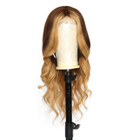 dalgalı insan saçlı dantel peruk toptan satış-Vurgu rengi İnsan Saç Dantel Ön Peruk Ombre Renk Brezilyalı Dalgalı Remy Iki Ton Saç Tam Dantel Peruk Bebek Saç ile