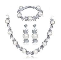 nachgemachte perlenschmucksachen großhandel-Schmuck Sets für Frauen Künstliche Perlenkette Vintage Braut Perlenkette Ohrringe Schmuck Set Multilayer Imitation Perlenkette o