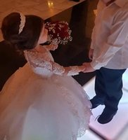 long first communion dresses toptan satış-Uzun Kollu Balo Prenses Çiçek Kız Elbise Aplikler ile Boncuklu Çarpıcı Sevimli Kız İlk Communion Elbise Beyaz