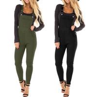más el tamaño de tirantes mono al por mayor-Womens Plus Size Skinny Classic Bib Overol Jeans Correa ajustable Color sólido Pantalones largos Estiramiento Suspender Jumpsuit pantalones