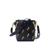 Wholesale large satin drawstring bags resale online - TANGDE FASHION WOMAN HORSE EMBROIDERY GENUINE LEATHER BUCKET DRAWSTRING BAG SH190920