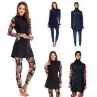 mayo slami kadınlar toptan satış-Müslüman Kadınlar Mayo Çiçek Baskı Tam Kapak İslam Mayo Banyo Beachwear Arap Burkini Setleri Kıyafetler Mütevazı Kap Ile Yeni