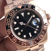 Wholesale black rose gold ring for sale - Group buy New GMT Series CHNR Automatic Mechanical Movement MM Sapphire Mirror Rose Gold Strap Ceramic Ring Original Folding