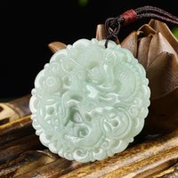 Wholesale money rope online – custom Natural Emerald Money Dragon Jade Pendant Beads Necklace Charm Jewellery Fashion Hand Carved Man Woman Luck Amulet New
