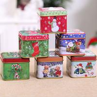 cajas de galletas al por mayor-Nuevo estilo navideño Caja de lata Galleta Caja de dulces Regalo de Navidad Galleta de almacenamiento