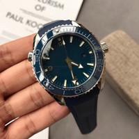 ingrosso orologio blu del pianeta-Nuovo stile di alta qualità Sea Master Movimento automatico Sea Master Planet Ocean Watch Watch Blue Dial Rubber Band Sport Watch spedizione gratuita