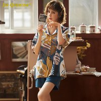 Wholesale sexy student clothing for sale - Group buy Women s Summer New Pajamas Set for Lady Blue Floral Printing Turn down Collar Knitted Cotton Lovely Youth Student Home Clothes