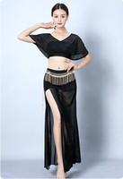 ingrosso abiti da ballo di pancia-Costumi di danza del ventre sexy delle donne Chiffon trasparente in paillettes Fancy Dress Esotico Stile indiano Dance Stage Performance Clothing
