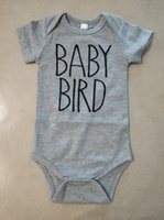 ropa linda del bebé del verano al por mayor-Cute Baby Onesie Gray Body Infant Newborn BABY BIRD print Cotton Baby boy Girl clothes 2019 Summer Cheap Wholesale