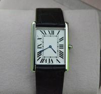 часы для женщин серебристый оптовых-Супер тонкий серии Топ мода кварцевые часы Мужчины Женщины Серебряный циферблат черный кожаный ремешок наручные часы классический прямоугольник дизайн платье часы 546L
