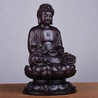 ingrosso statue di legno di buddha-Woonden Sakyamuni Buddha Decoration, statua in legno massello di Buddha, artigianato in legno, Buddha seduto Lotus Sculpture, statue Fengshui